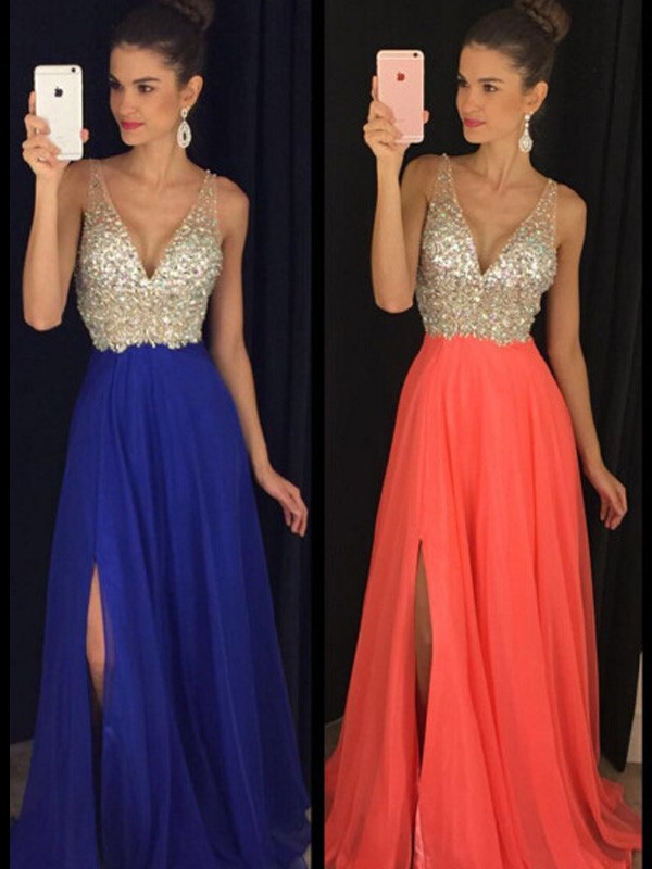Just My Style Princess Style V-neck Beading Floor-Length Chiffon Dresses