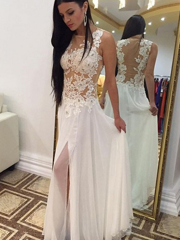 Romantic Vibes Princess Style Scoop Floor-Length Applique Chiffon Dresses