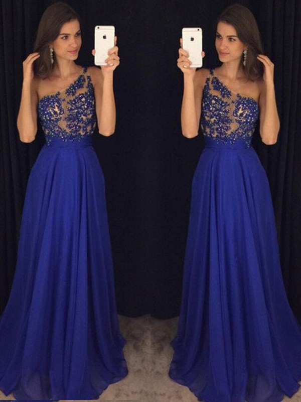 Fabulous Fit Princess Style One-Shoulder Floor-Length Beading Chiffon Dresses