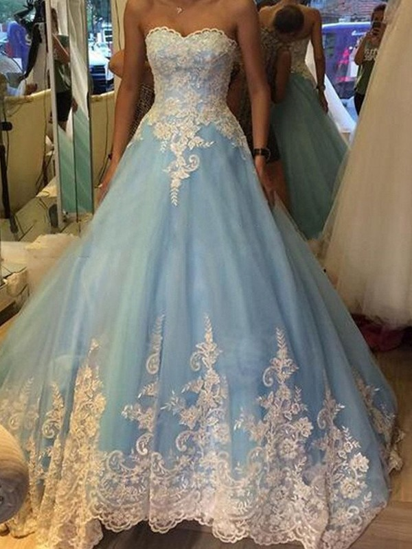 Aesthetic Honesty Ball Gown Sweetheart Applique Tulle Sweep/Brush Train Dresses