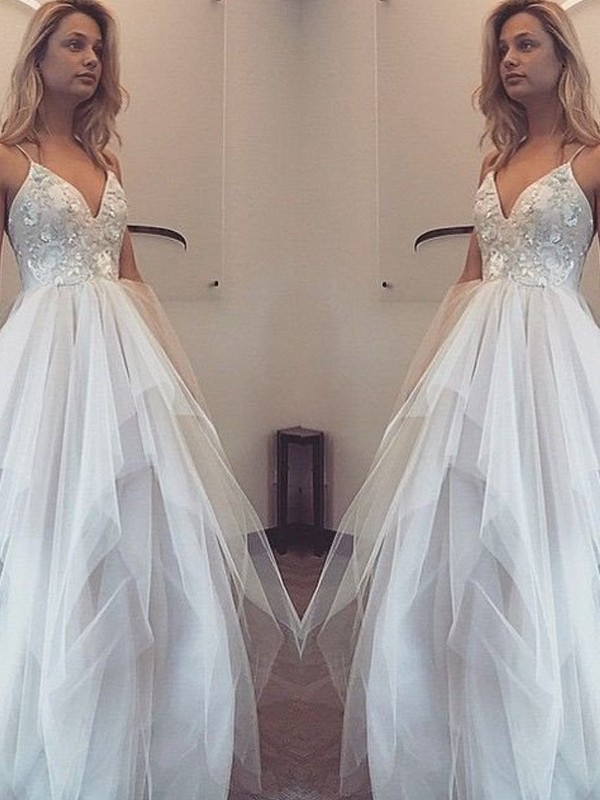 Cordially Delighted Princess Style Spaghetti Straps Floor-Length Tulle Dresses
