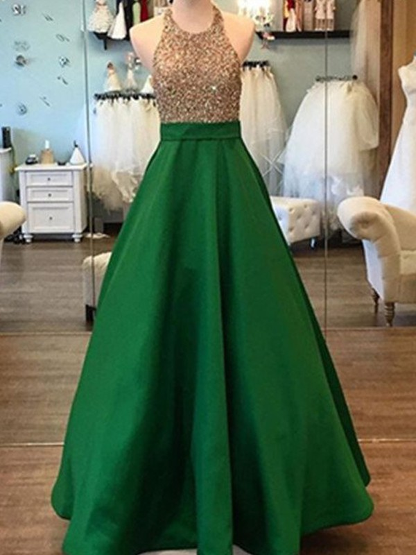 Styled to Smile Princess Style Floor-Length Halter Beading Satin Dresses