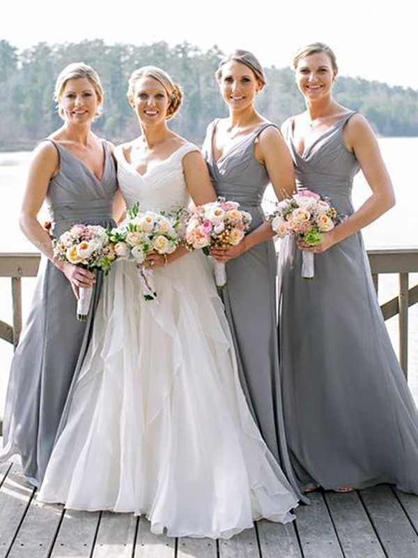Efflorescent Dreams Princess Style V-neck Floor-Length Chiffon Bridesmaid Dresses