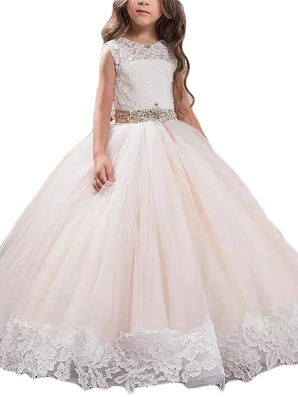 Open to Adoration Ball Gown Scoop Lace Floor-Length Tulle Flower Girl Dresses