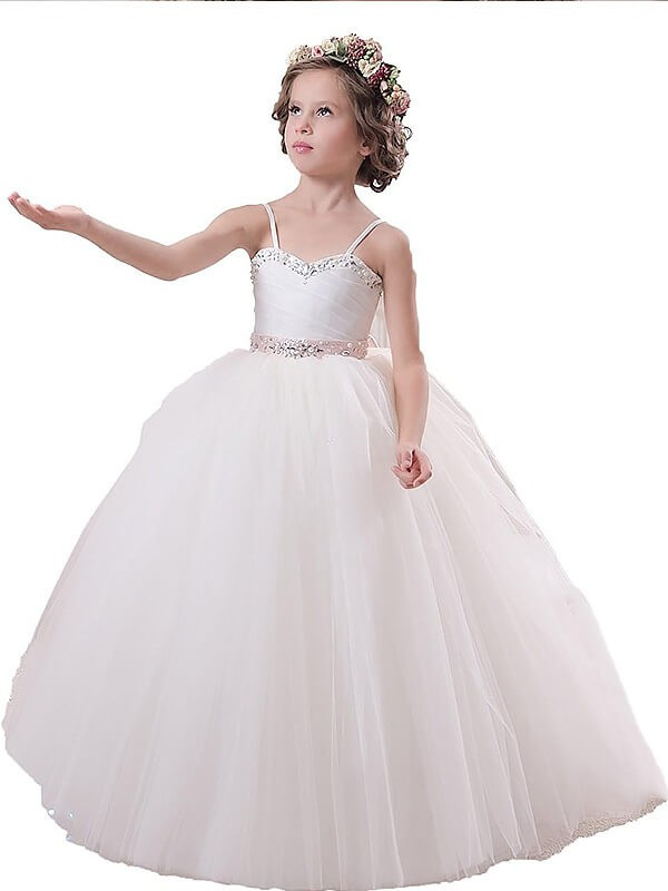 Beautiful You Ball Gown Spaghetti Straps Sash/Ribbon/Belt Floor-Length Tulle Flower Girl Dresses