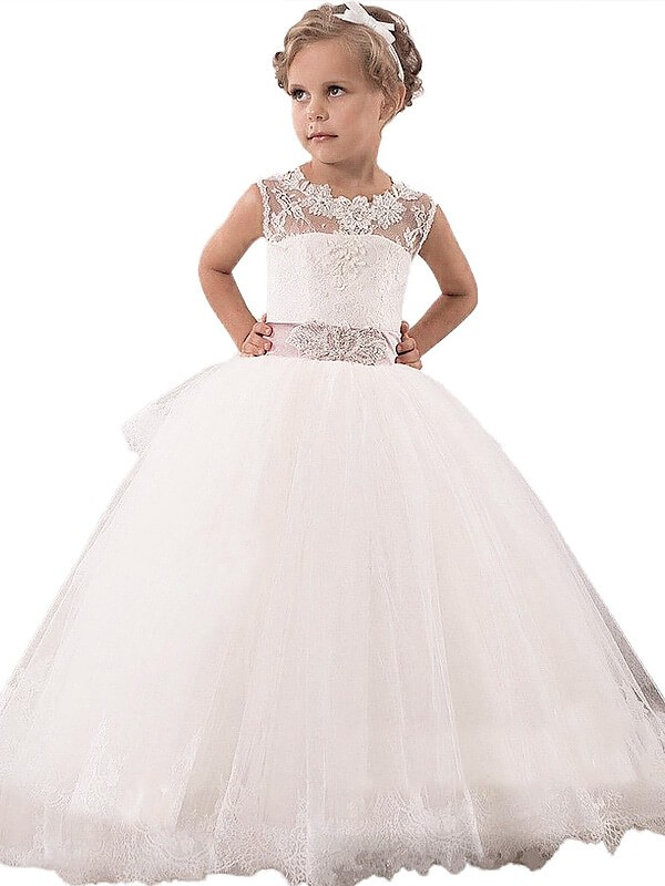 Absolute Lovely Ball Gown Scoop Lace Floor-Length Tulle Flower Girl Dresses