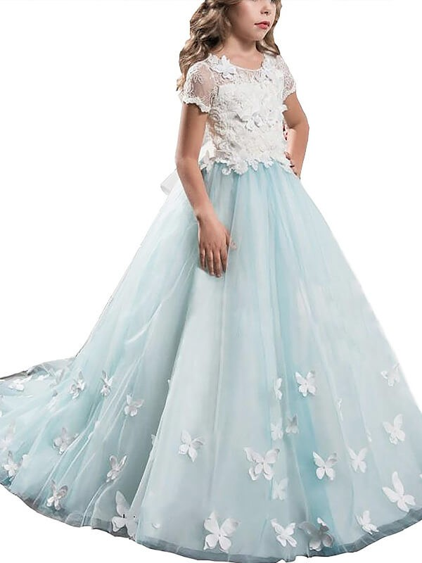 Desired Spotlight Princess Style Scoop Lace Tulle Floor-Length Flower Girl Dresses