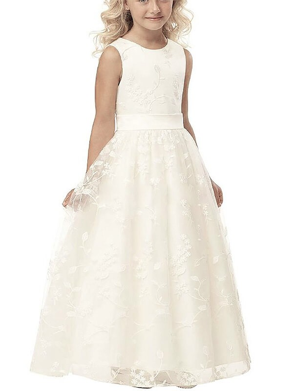 Limitless Looks Princess Style Scoop Applique Tulle Floor-Length Flower Girl Dresses