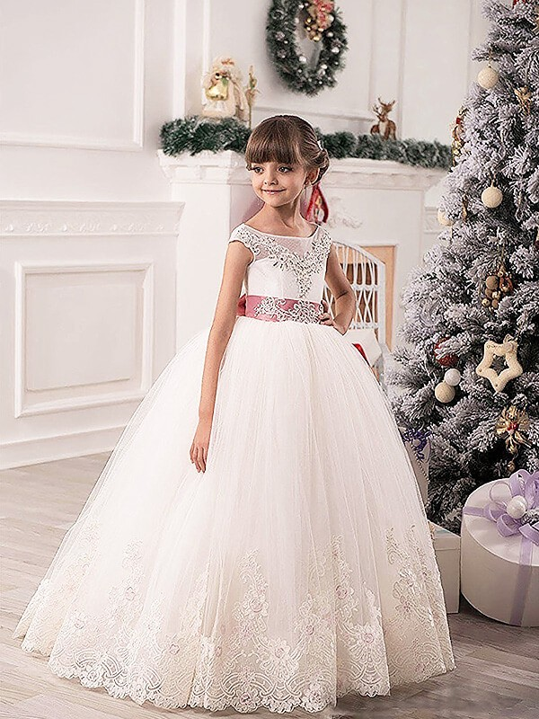 Cordially Delighted Ball Gown Scoop Sash/Ribbon/Belt Tulle Floor-Length Flower Girl Dresses