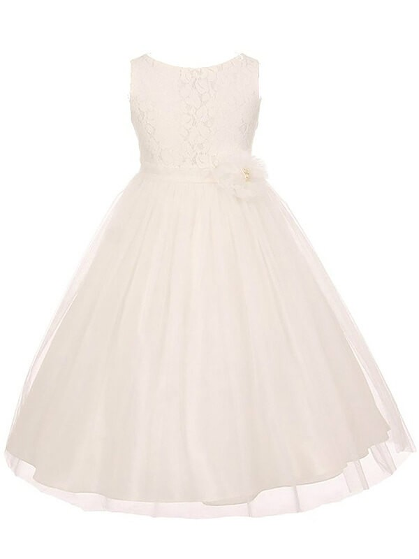 Styled to Smile Princess Style Scoop Tulle Sash/Ribbon/Belt Ankle-Length Flower Girl Dresses