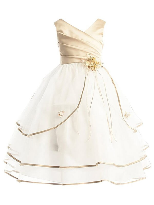 Pretty Looks Princess Style V-neck Tulle Ankle-Length Flower Girl Dresses