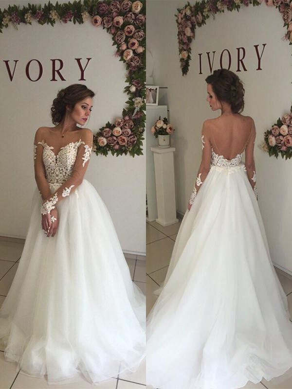 Visual Moment Princess Style Tulle Off-the-Shoulder Sweep/Brush Train Wedding Dresses