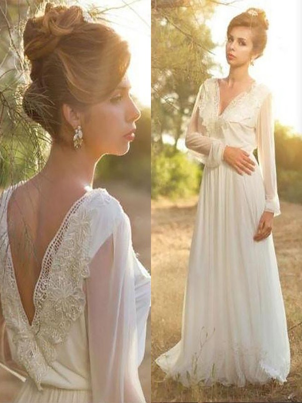Too Much Fun Princess Style V-neck Lace Chiffon Sweep/Brush Train Wedding Dresses