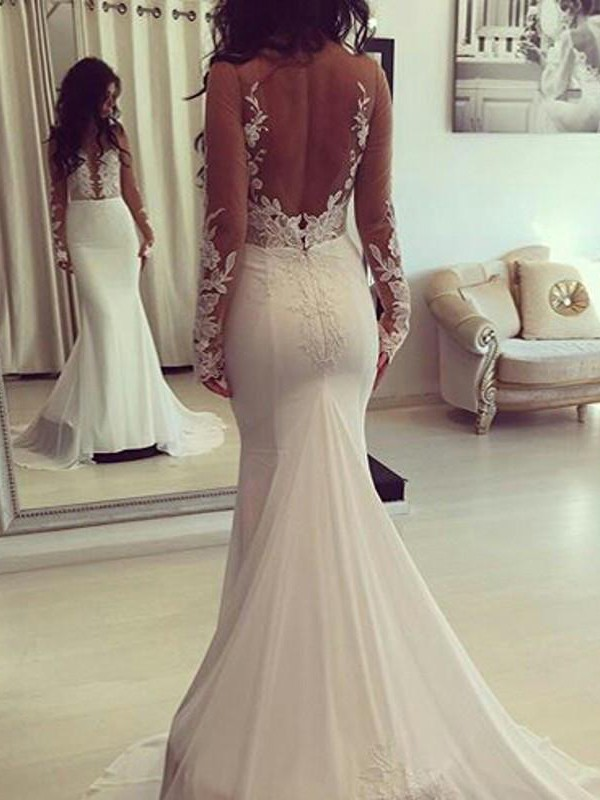 Naturally Chic Mermaid Style Scoop Court Train Chiffon Wedding Dresses