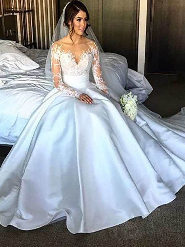 Intuitive Impact Ball Gown Satin Court Train Wedding Dresses