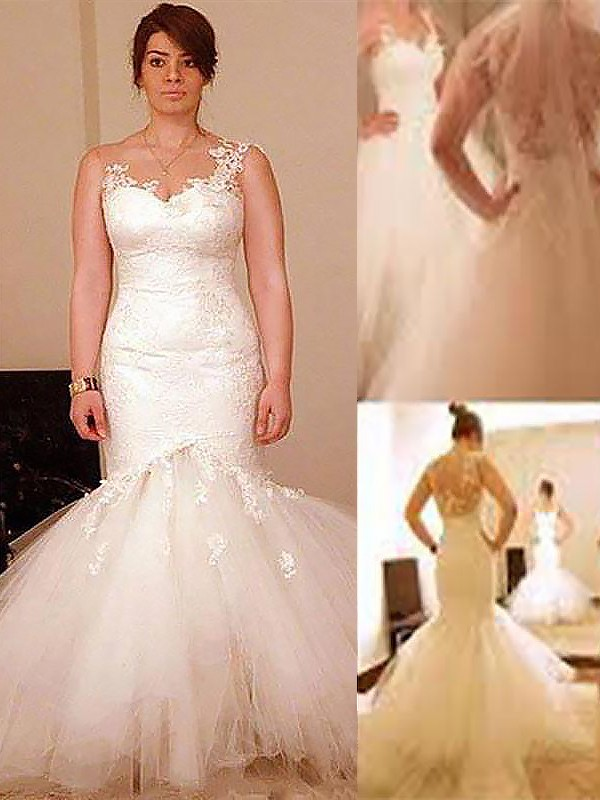Treasured Reveries Mermaid Style Floor-Length Organza Straps Wedding Dresses