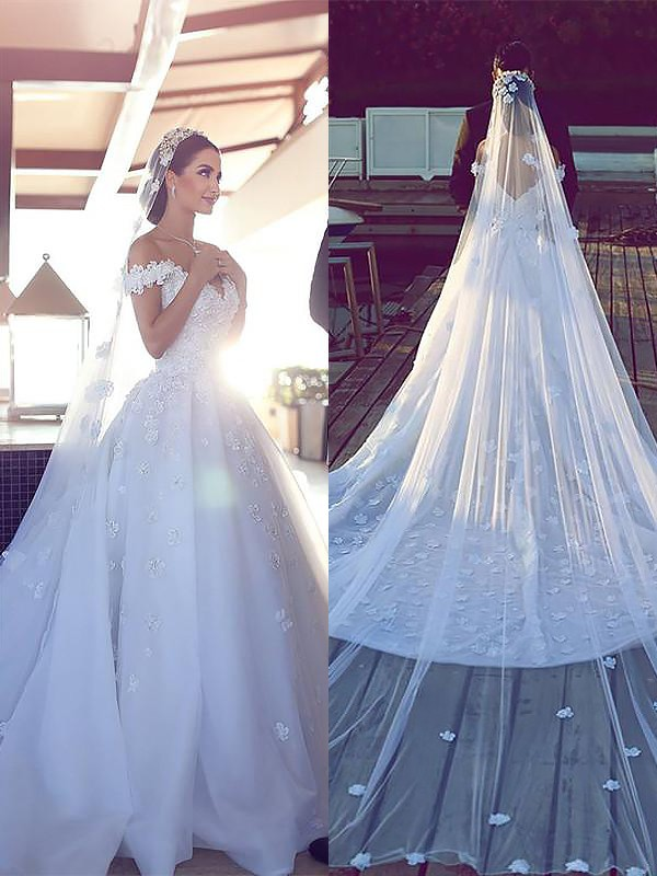 Comfortably Chic Ball Gown Satin Chiffon V-neck Chapel Train Wedding Dresses