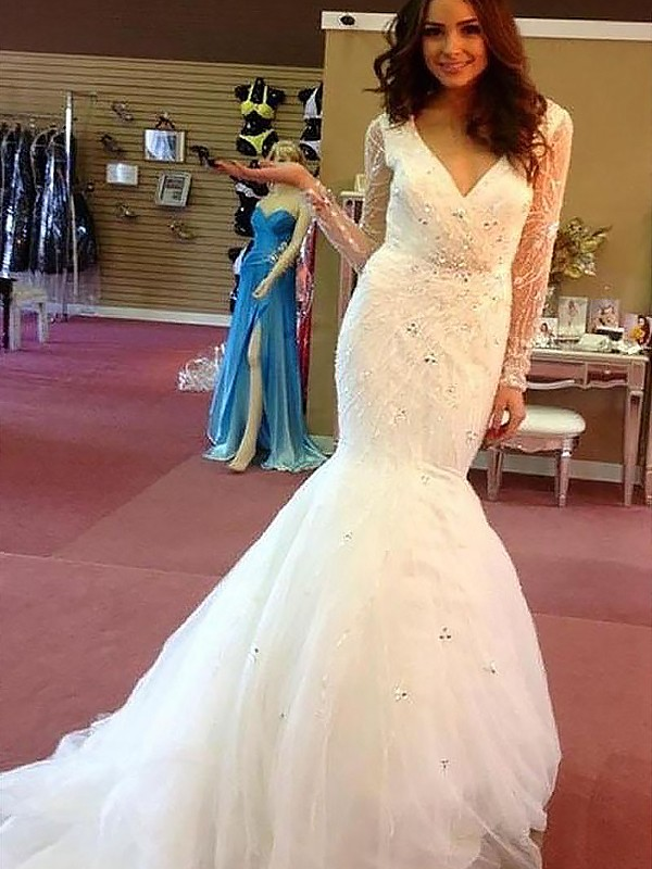 Voiced Vivacity Mermaid Style With Beading Tulle Court Train V-neck Wedding Dresses