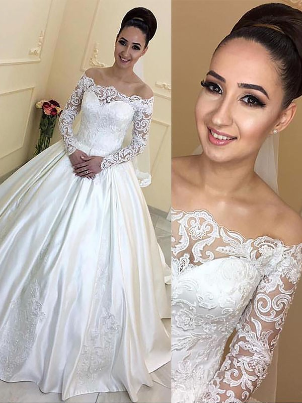 Styled to Smile Ball Gown Off-the-Shoulder Satin Court Train Wedding Dresses