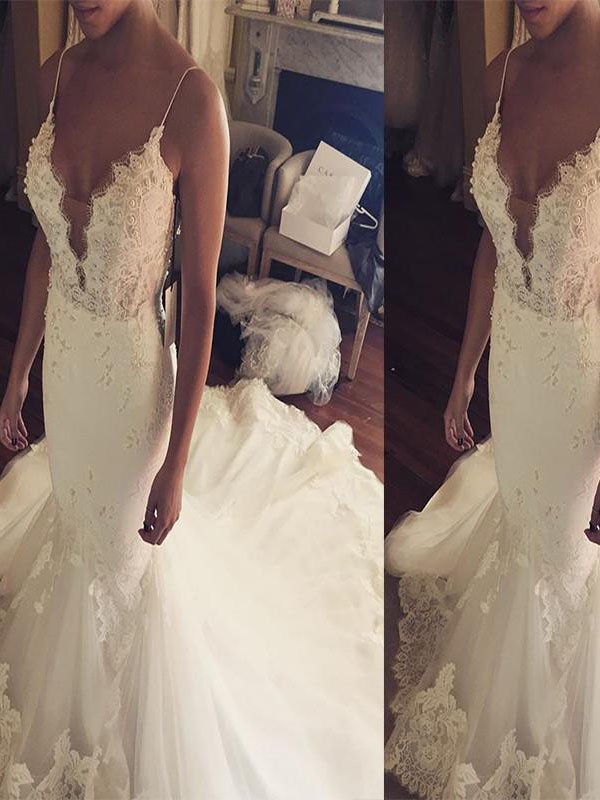 Stylish Refresh Mermaid Style Spaghetti Straps Court Train Lace Tulle Wedding Dresses
