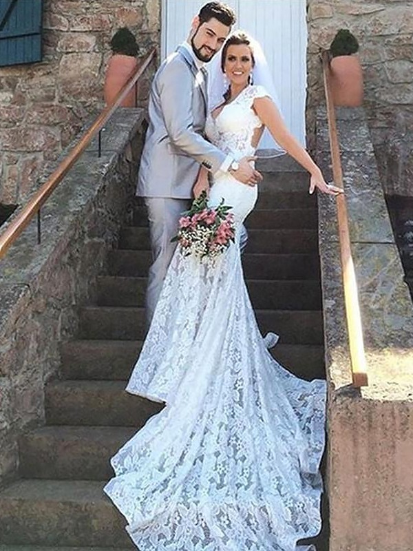 Just My Style Mermaid Style Sweetheart Lace Court Train Wedding Dresses