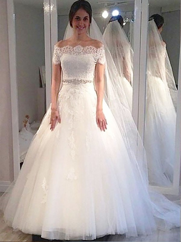 Beautiful You Ball Gown Off-the-Shoulder Tulle Sweep/Brush Train Wedding Dresses