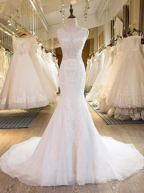 Easily Adored Mermaid Style Scoop Tulle Sweep/Brush Train Wedding Dresses