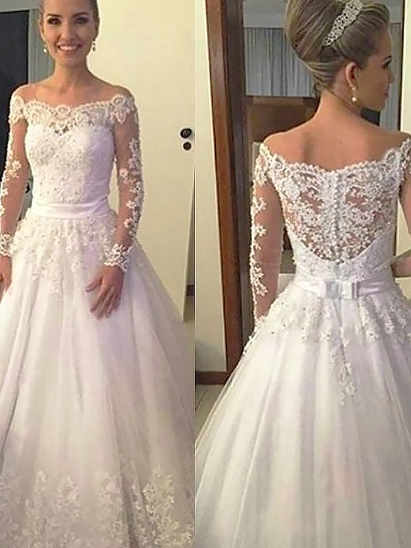 Comfortably Chic Ball Gown Off-the-Shoulder Lace Tulle Court Train Wedding Dresses