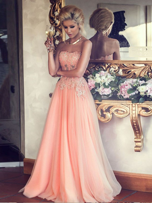 Efflorescent Dreams Princess Style Strapless Applique Floor-Length Chiffon Dresses