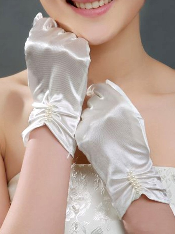 Fancy Cloth With Pearl Wedding Gloves