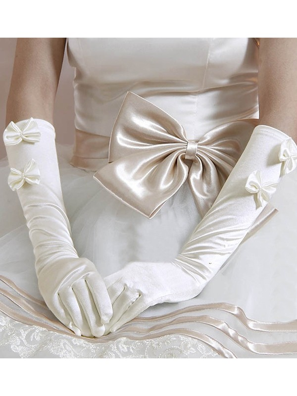 Brilliant Cloth Bowknot Wedding Gloves