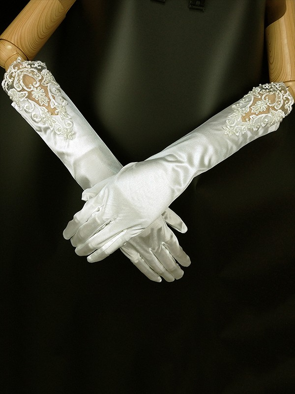Trending Cloth Applique Wedding Gloves