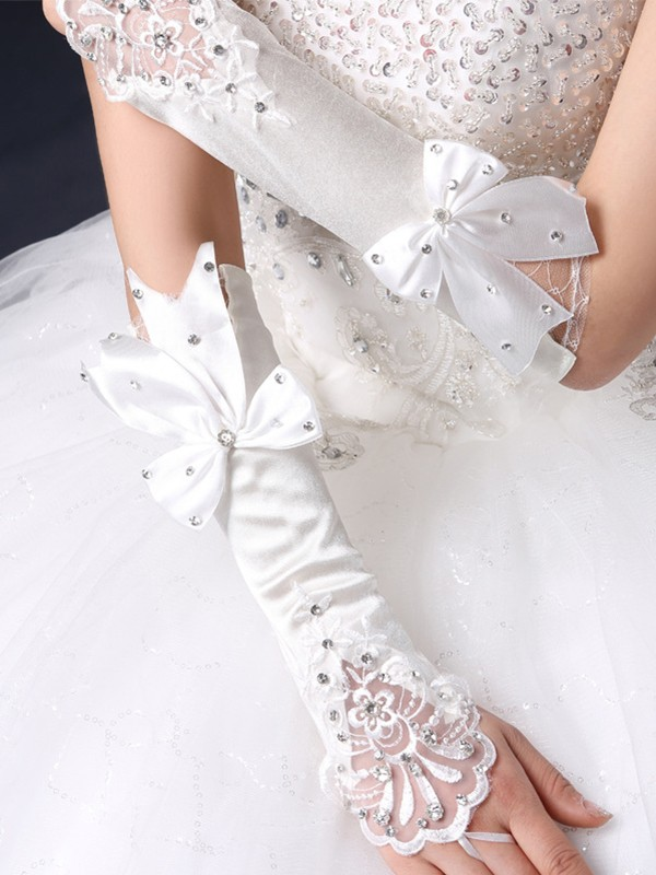 Elegant Cloth Bowknot Wedding Gloves
