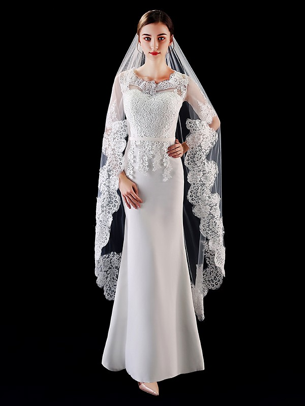 Pretty Tulle With Applique Long Wedding Veils