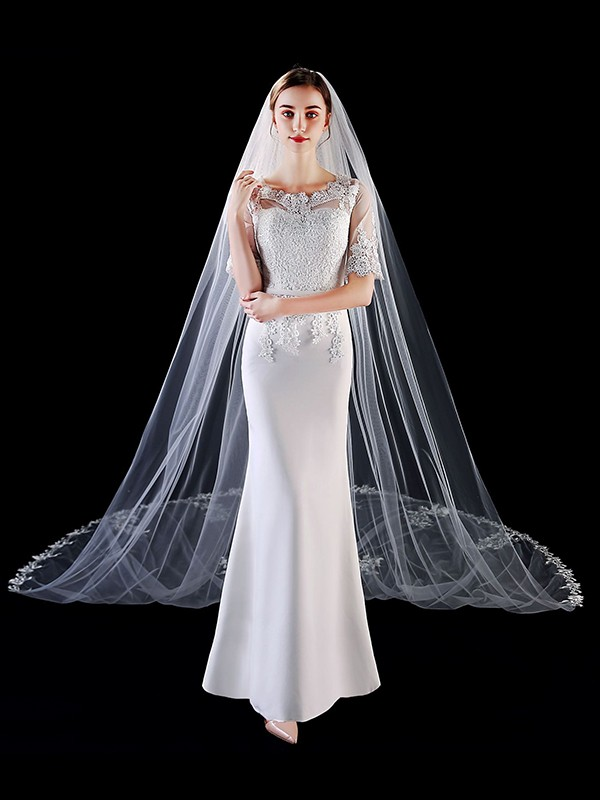 Graceful Tulle With Applique Long Wedding Veils