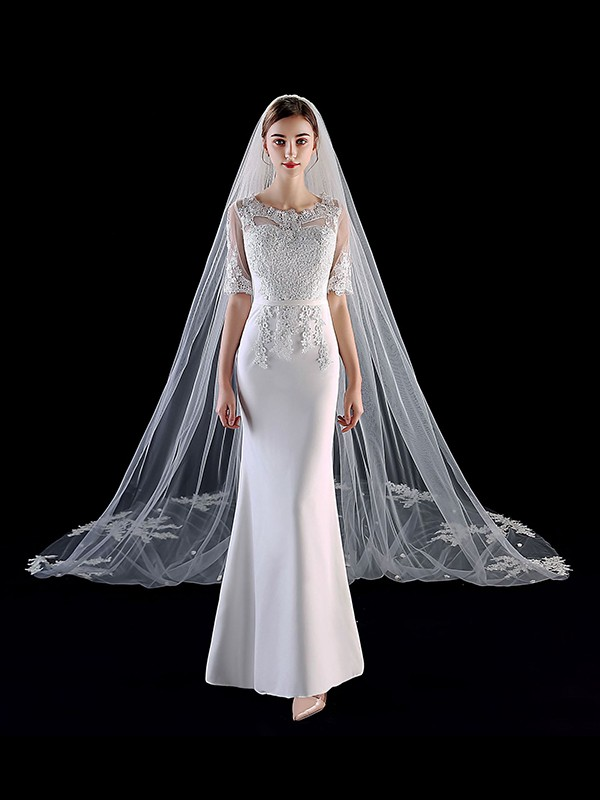 Charming Tulle With Applique Long Wedding Veils