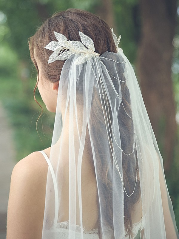 Fancy Tulle One-Tier With Beading Chapel Bridal Veils