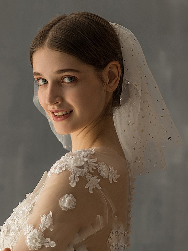 Gorgeous Tulle Two-Tier With Sequin Shoulder Veils