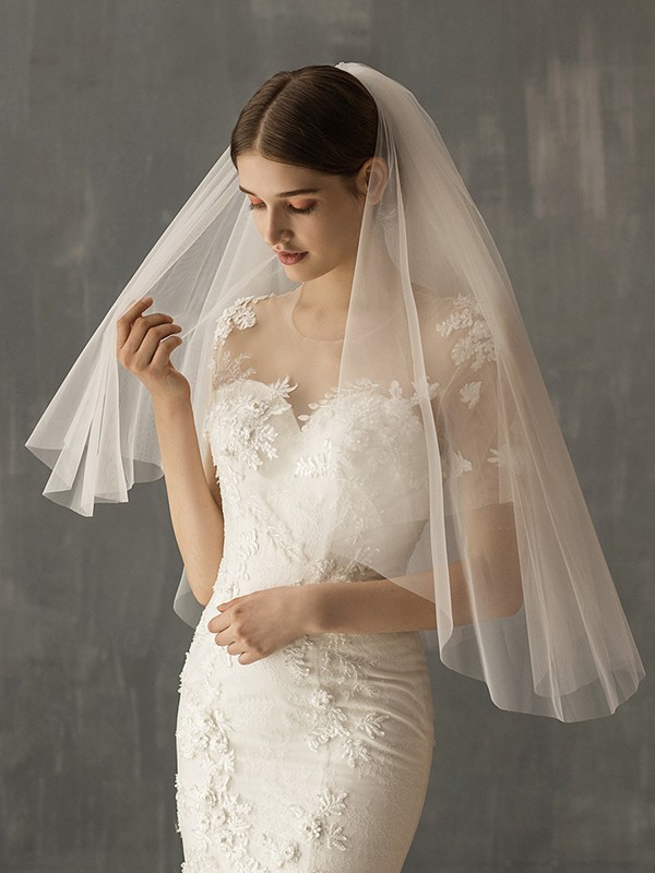 Brilliant Tulle Two-Tier Elbow Bridal Veils