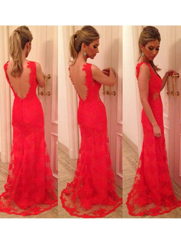 Pretty Looks Mermaid Style V-neck Applique Lace Backless Floor-length Dress