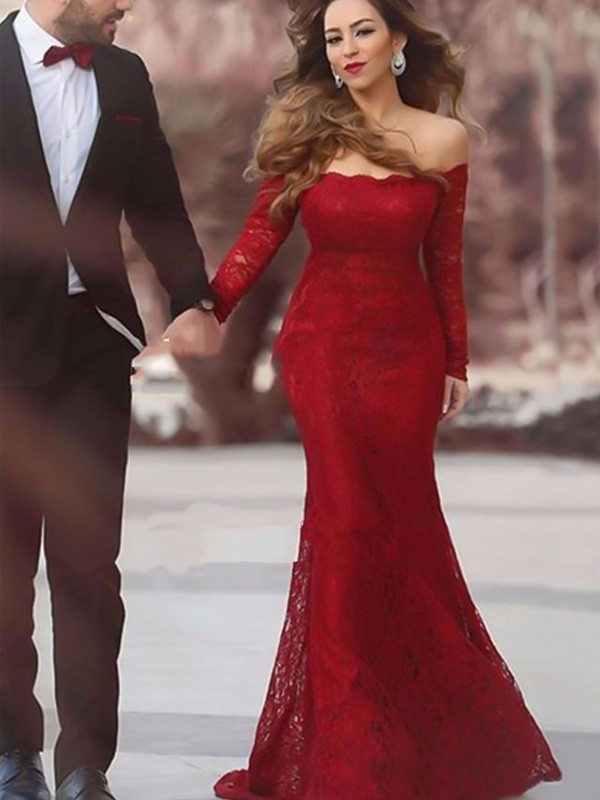 Styled to Smile Mermaid Style Off-the-Shoulder Floor-Length Ruffles Lace Dresses