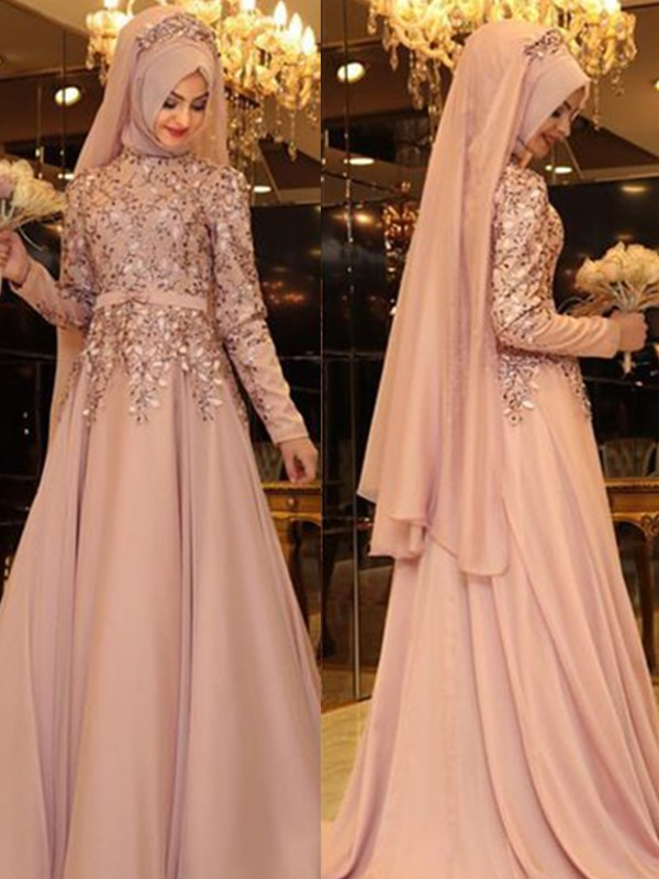 Pleased to be Me Princess Style High Neck Floor-Length Beading Chiffon Dresses