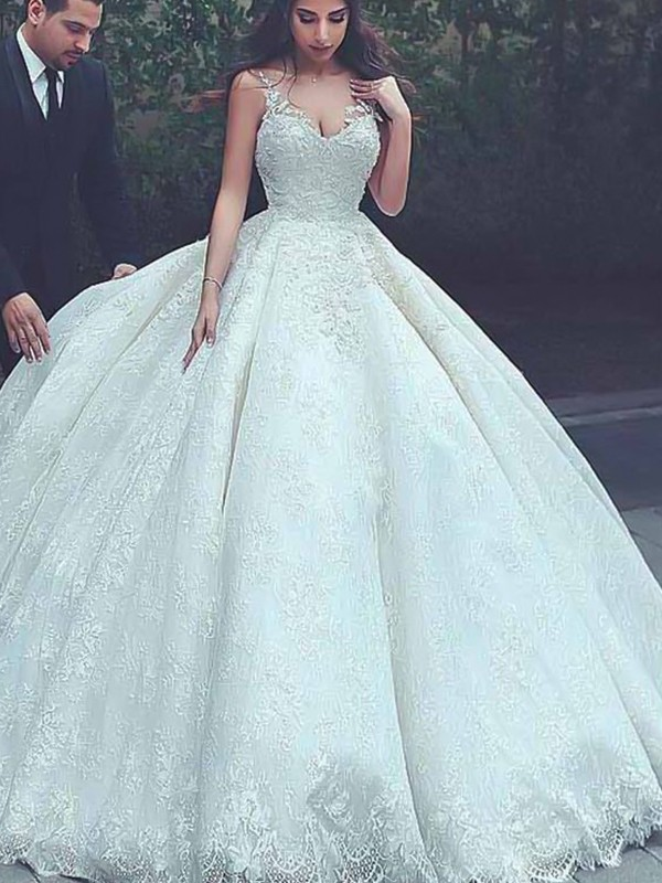 Memorable Magic Ball Gown Spaghetti Straps Sweep/Brush Train Lace Tulle Wedding Dresses