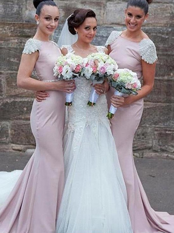 Aesthetic Honesty Mermaid Style Bateau Sweep/Brush Train Beading Satin Bridesmaid Dresses