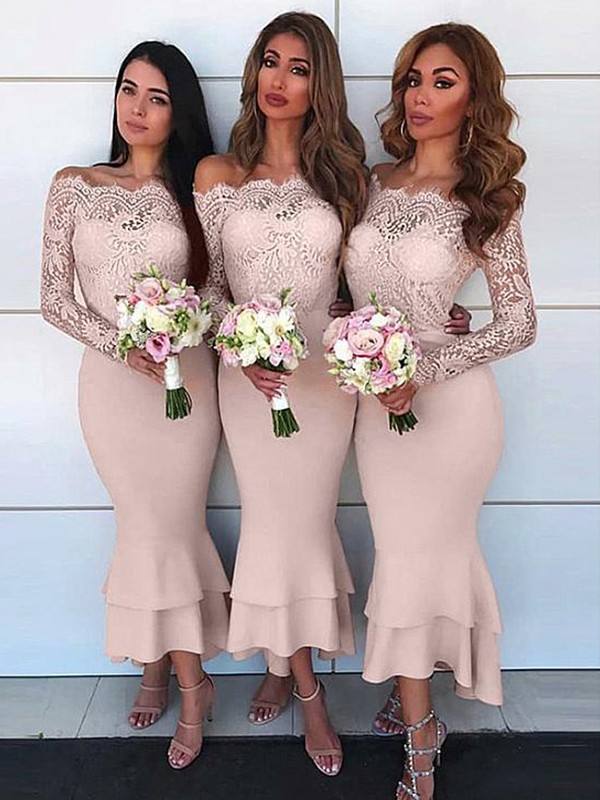 Chic Chic London Sheath Style Off-the-Shoulder Ankle-Length Lace Stretch Crepe Bridesmaid Dresses