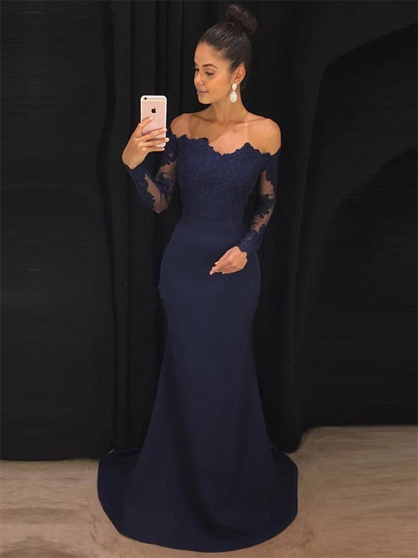 Yours Truly Mermaid Style Off-the-Shoulder Sweep/Brush Train Lace Stretch Crepe Dresses