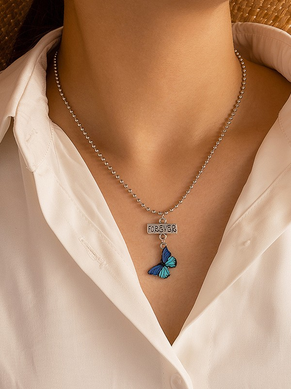 Fashionable Alloy With Butterfly Necklaces