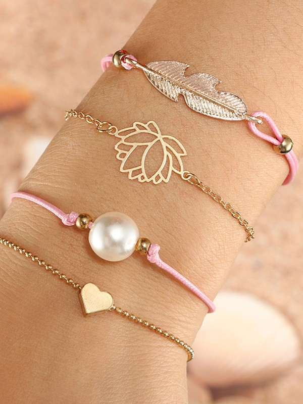 Lovely Alloy With Imitation Pearl/Leaf Bracelets(4 Pieces)