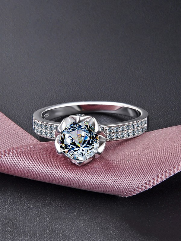 Luxurious 925 Sterling Silver With Zircon Wedding Rings