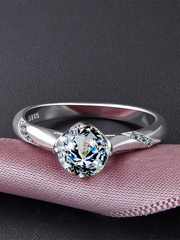 Elegant S925 Silver With Zircon Wedding Rings